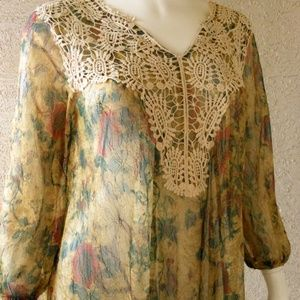 Semi Sheer Lace Tunic Vintage Floral Print